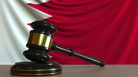 Judges gavel and block against the flag of Bahrain. Bahraini court conceptual 3D rendering