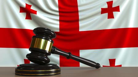Judges gavel and block against the flag of Georgia. Georgian court conceptual 3D rendering