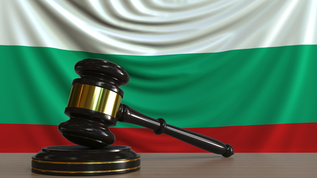 Judges gavel and block against the flag of Bulgaria. Bulgarian court conceptual 3D rendering Stock fotó