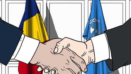 Businessmen or politicians shake hands against flags of Romania and United Nations. Official meeting or cooperation related editorial illustration