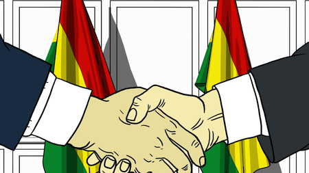 Businessmen or politicians shaking hands against flags of Bolivia. Meeting or cooperation related cartoon illustration
