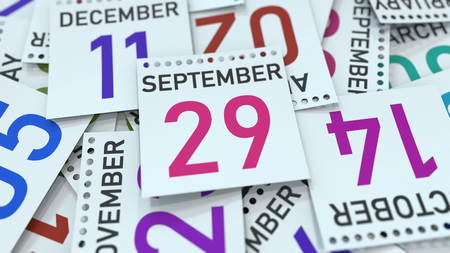 September 29 date on emphasized calendar page, 3D rendering