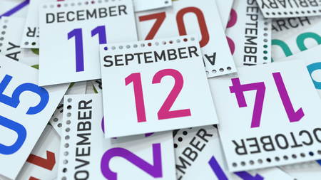 September 12 date on emphasized calendar page, 3D rendering