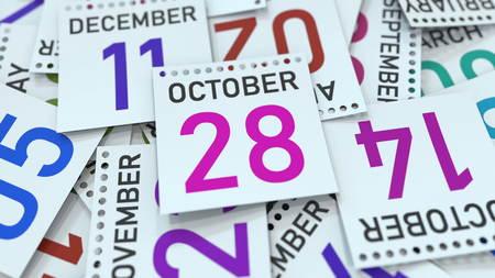 October 28 date on emphasized calendar page, 3D rendering Stock fotó