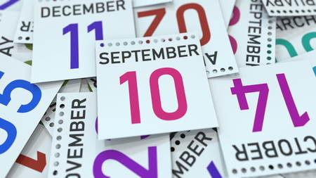 September 10 date on calendar page. 3D rendering