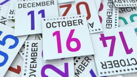 Calendar leaf with October 16 date, 3D rendering