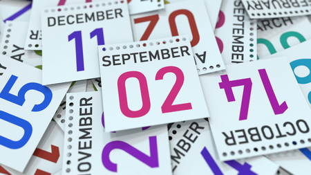 September 2 date on emphasized calendar page, 3D rendering