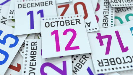 October 12 date on emphasized calendar page, 3D rendering Stock fotó