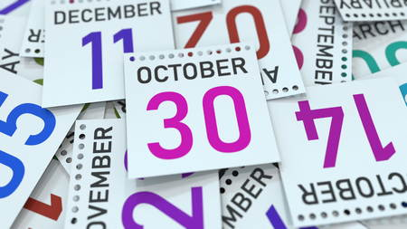 October 30 date on emphasized calendar page, 3D rendering Stock fotó - 121091342