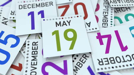 May 19 date on calendar page. 3D rendering