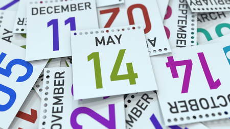 May 14 date on emphasized calendar page, 3D rendering