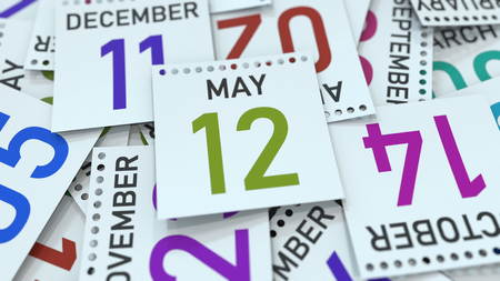 May 12 date on emphasized calendar page, 3D rendering Stock fotó - 121091383