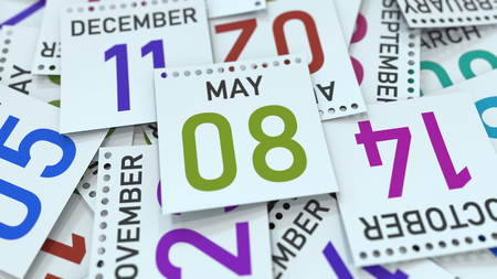 May 8 date on emphasized calendar page, 3D rendering