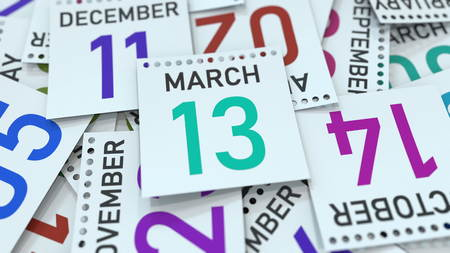 March 13 date on emphasized calendar page, 3D rendering Stock fotó