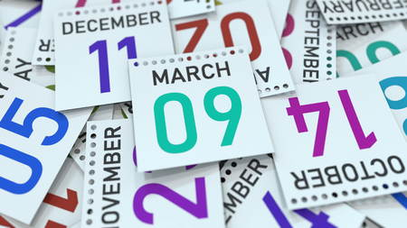 March 9 date on emphasized calendar page, 3D rendering Stock fotó
