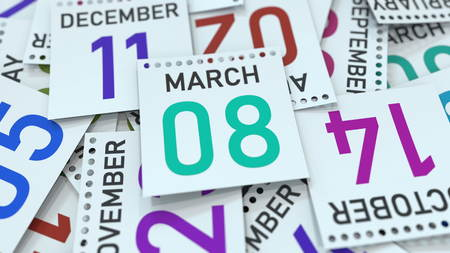 March 8 date on emphasized calendar page, 3D rendering