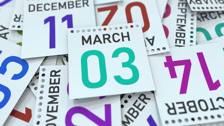 March 3 date on emphasized calendar page, 3D rendering