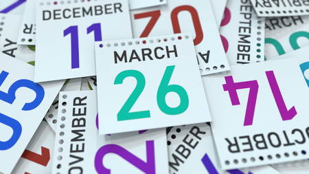March 26 date on emphasized calendar page, 3D rendering Stock fotó