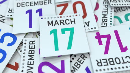 March 17 date on emphasized calendar page, 3D rendering Stock fotó