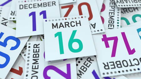 March 16 date on emphasized calendar page, 3D rendering Stock fotó - 121091620
