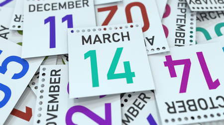 March 14 date on emphasized calendar page, 3D rendering