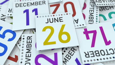June 26 date on emphasized calendar page, 3D rendering