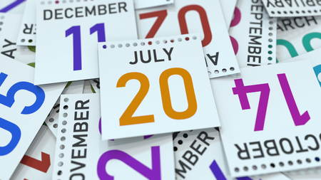 July 20 date on emphasized calendar page, 3D rendering