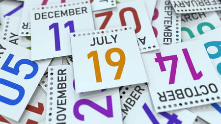 July 19 date on calendar page. 3D rendering