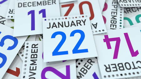 January 22 date on emphasized calendar page, 3D rendering Stock fotó