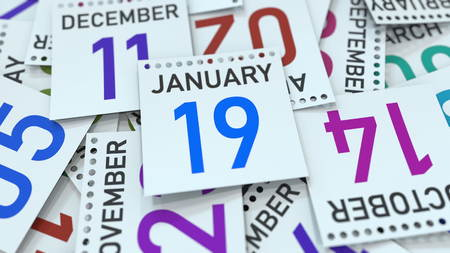 January 19 date on emphasized calendar page, 3D rendering