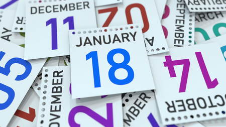 January 18 date on emphasized calendar page, 3D rendering