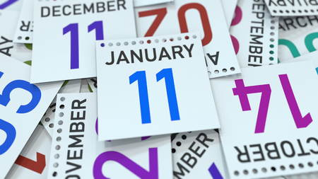 January 11 date on emphasized calendar page, 3D rendering