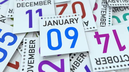 January 9 date on emphasized calendar page, 3D rendering
