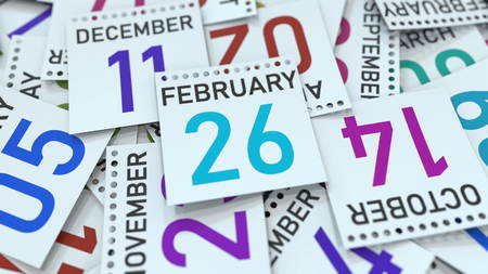 February 26 date on emphasized calendar page, 3D rendering