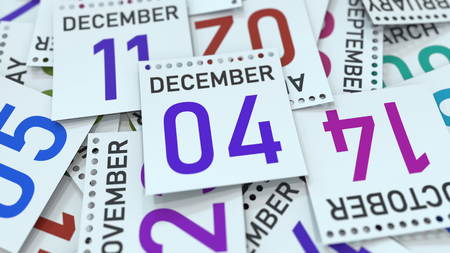 December 4 date on emphasized calendar page, 3D rendering