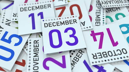 December 3 date on emphasized calendar page, 3D rendering Stock fotó - 121091738