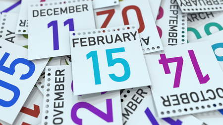 February 15 date on emphasized calendar page, 3D rendering