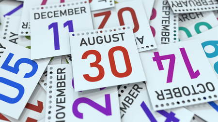 August 30 date on emphasized calendar page, 3D rendering