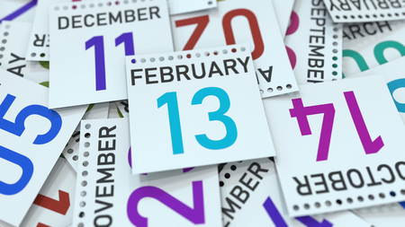 February 13 date on emphasized calendar page, 3D rendering Stock fotó