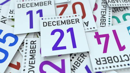 December 21 date on emphasized calendar page, 3D rendering