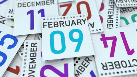 Calendar leaf with February 9 date, 3D rendering