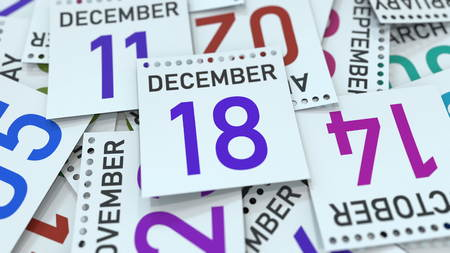 December 18 date on emphasized calendar page, 3D rendering Stock fotó - 121091767
