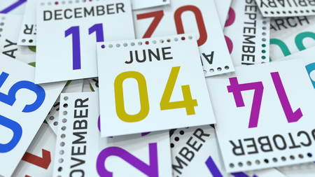June 4 date on emphasized calendar page, 3D rendering