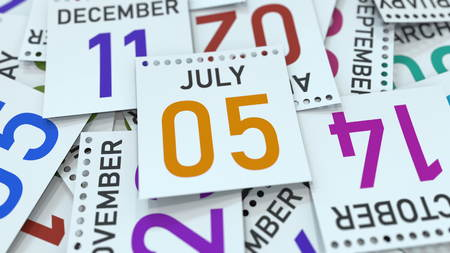 July 5 date on emphasized calendar page, 3D rendering