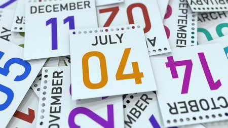 July 4 date on emphasized calendar page, 3D rendering