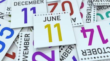 June 11 date on calendar page. 3D rendering Standard-Bild