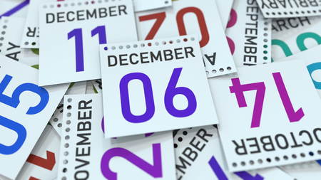 December 6 date on emphasized calendar page, 3D rendering Stock fotó - 121091870