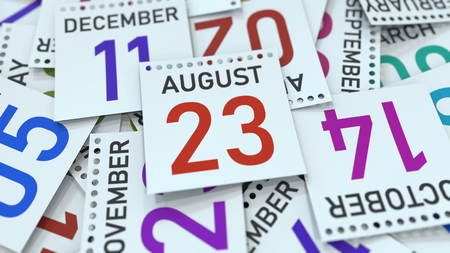 August 23 date on emphasized calendar page, 3D rendering