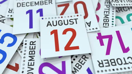 August 12 date on emphasized calendar page, 3D rendering Stock fotó