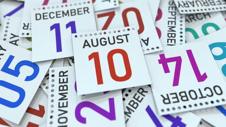 August 10 date on emphasized calendar page, 3D rendering
